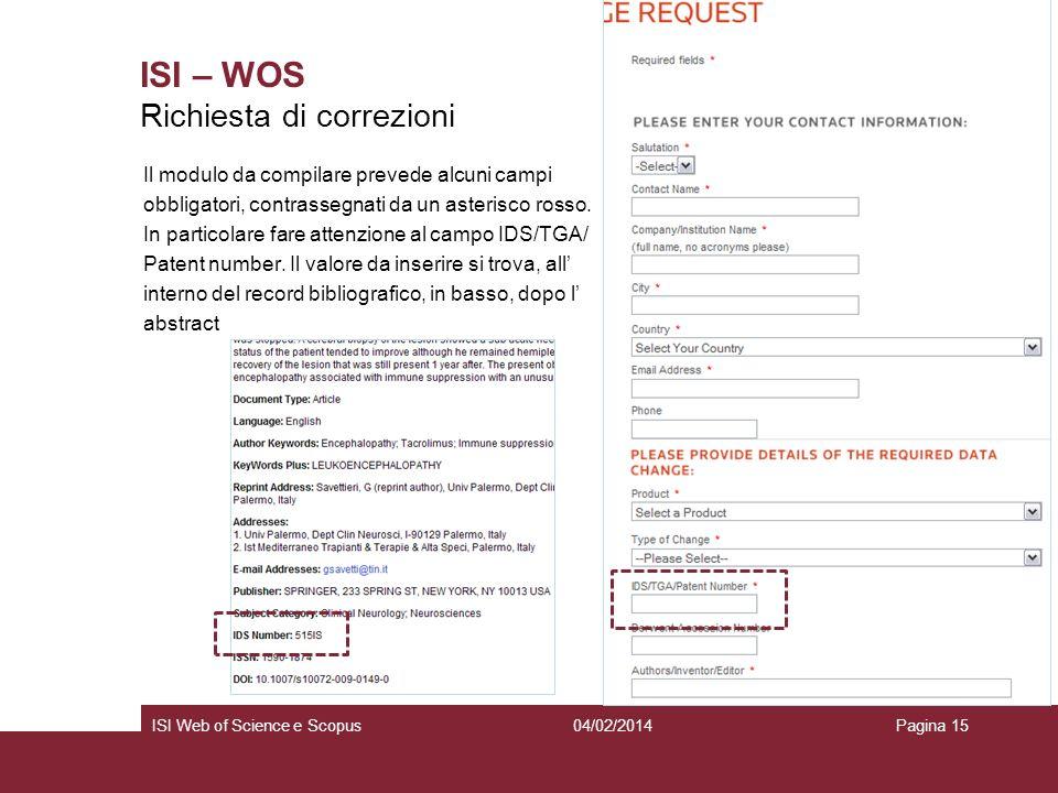 ISI – WOS Richiesta di correzioni