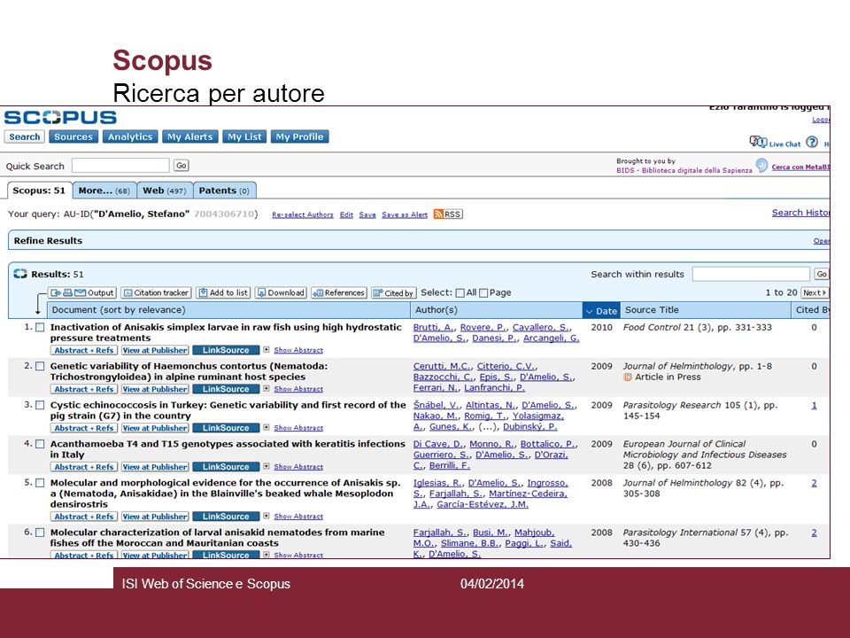 Scopus Ricerca per autore ISI Web of Science e Scopus 27/03/2017