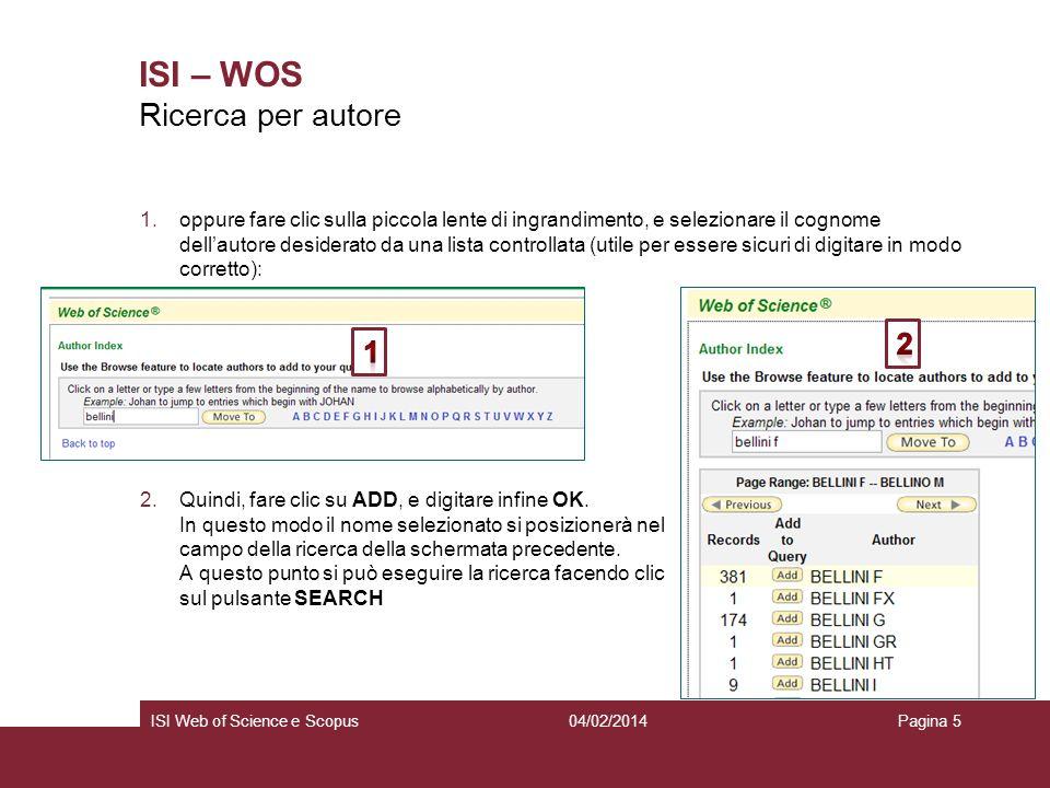 ISI – WOS Ricerca per autore 2 1