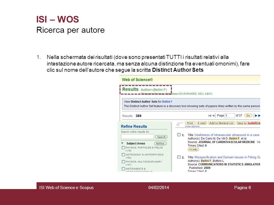 ISI – WOS Ricerca per autore