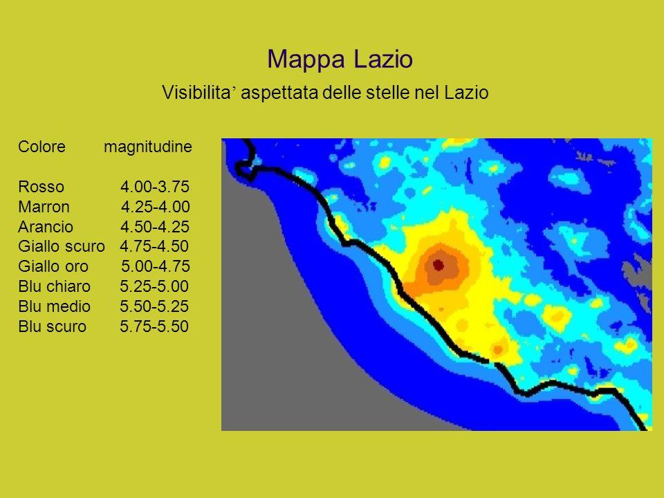 Mappa Lazio Visibilita' aspettata delle stelle nel Lazio