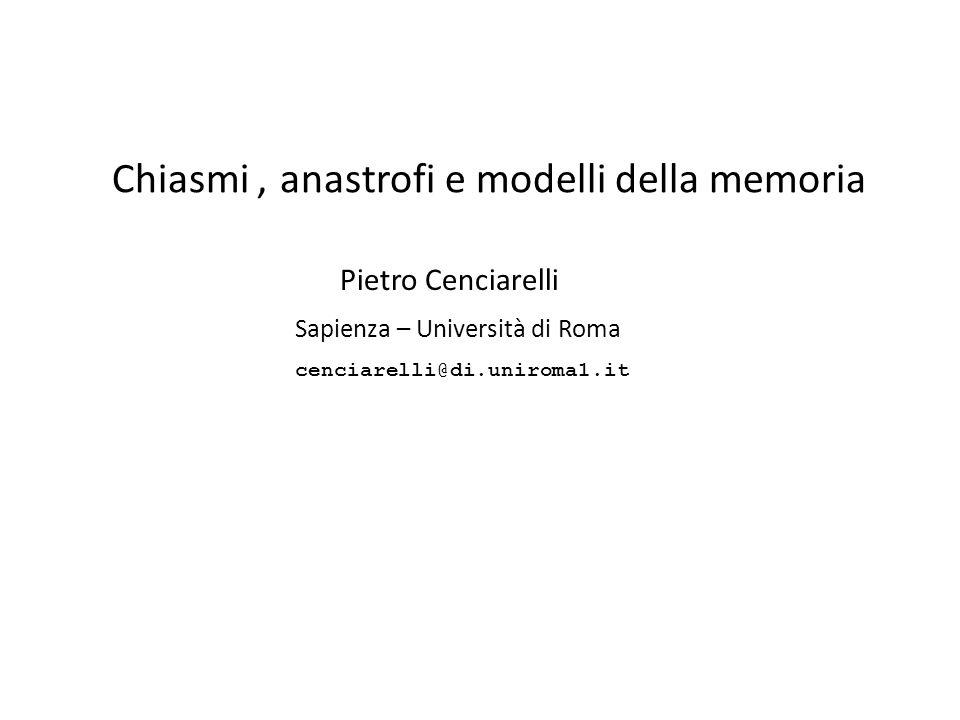 e modelli della memoria