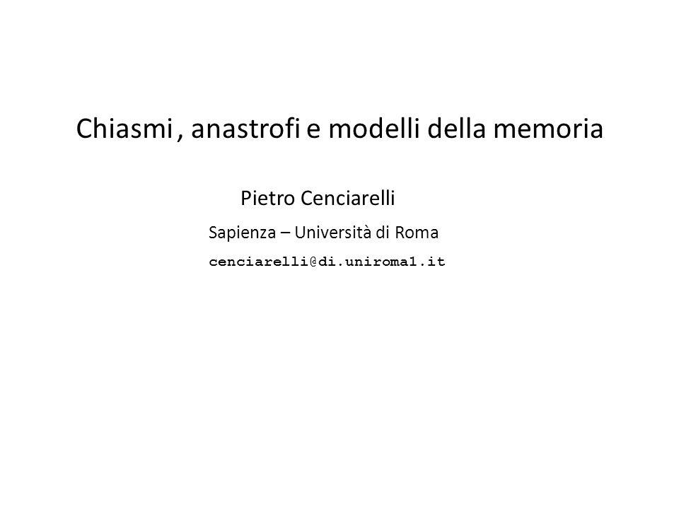 , anastrofi e modelli della memoria
