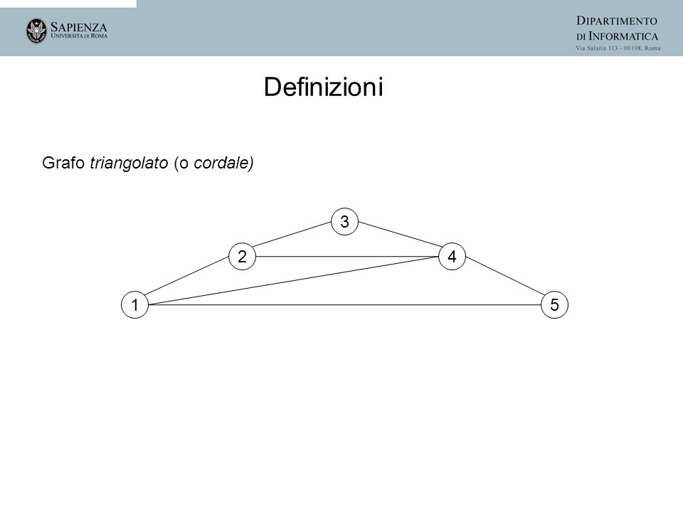 Definizioni Grafo triangolato (o cordale) 3 2 4 1 5
