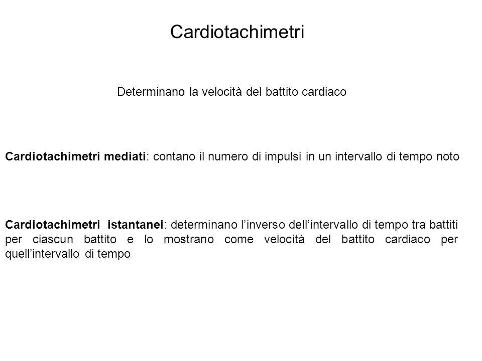 Cardiotachimetri Determinano la velocità del battito cardiaco