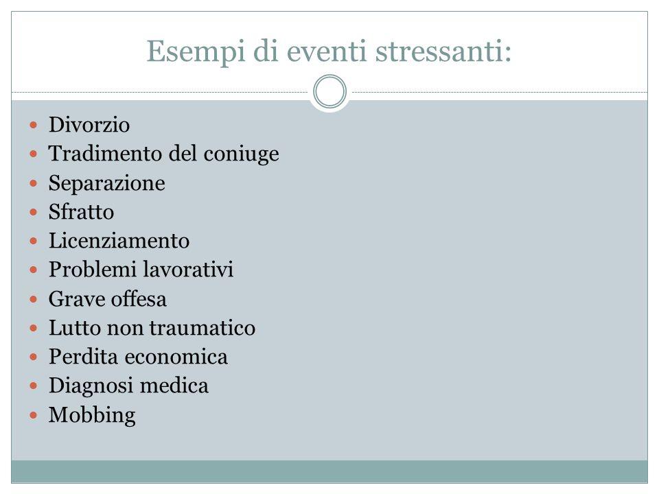 Esempi di eventi stressanti: