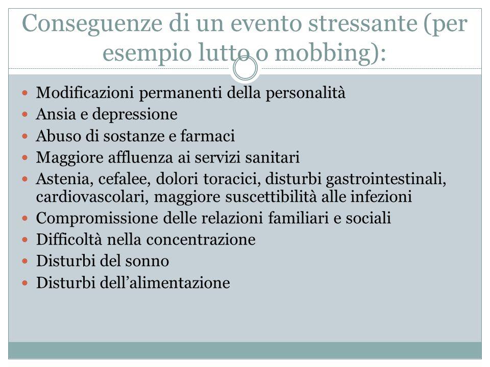Conseguenze di un evento stressante (per esempio lutto o mobbing):