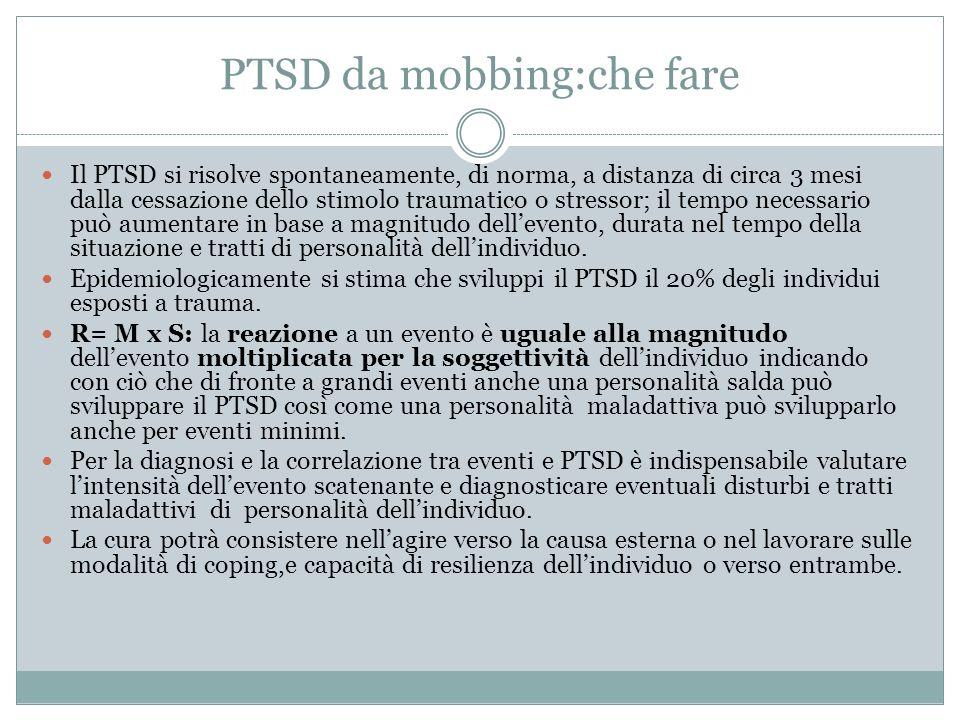 PTSD da mobbing:che fare