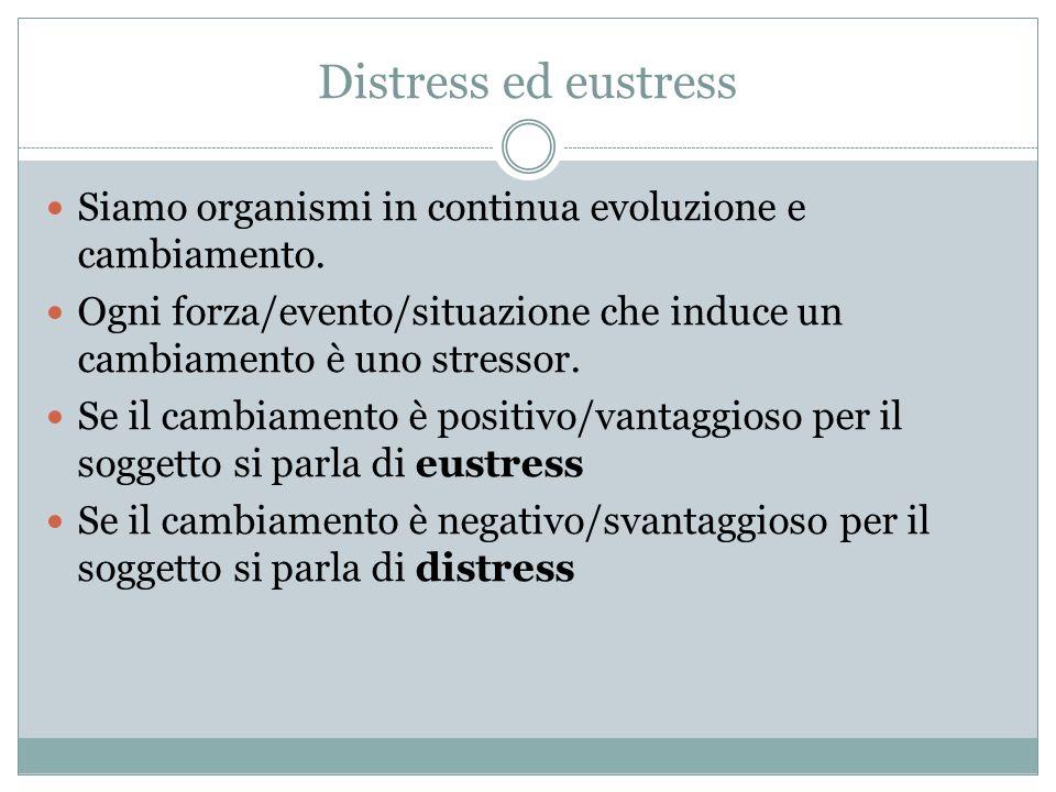 Distress ed eustressSiamo organismi in continua evoluzione e cambiamento. Ogni forza/evento/situazione che induce un cambiamento è uno stressor.