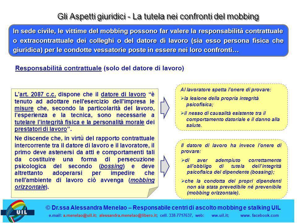 Gli Aspetti giuridici - La tutela nei confronti del mobbing