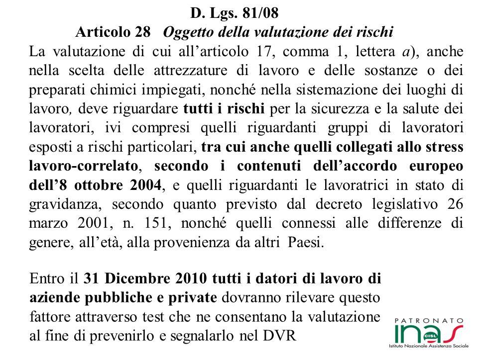 Articolo 28 Oggetto della valutazione dei rischi