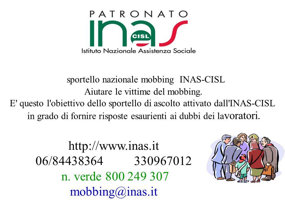 n. verde 800 249 307 mobbing@inas.it