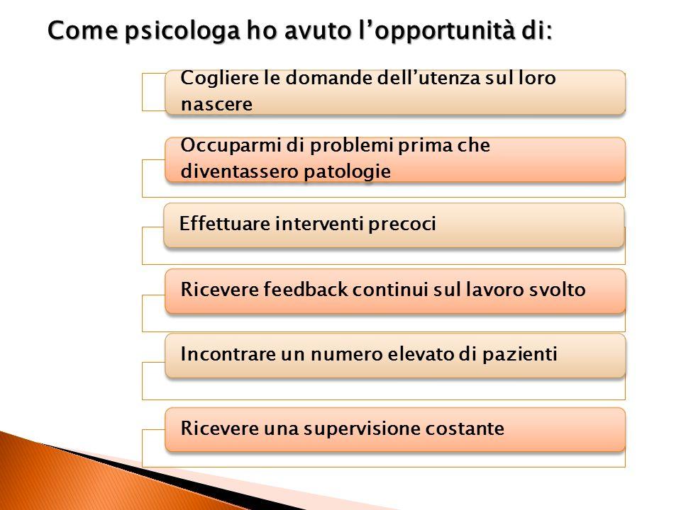 Come psicologa ho avuto l'opportunità di: