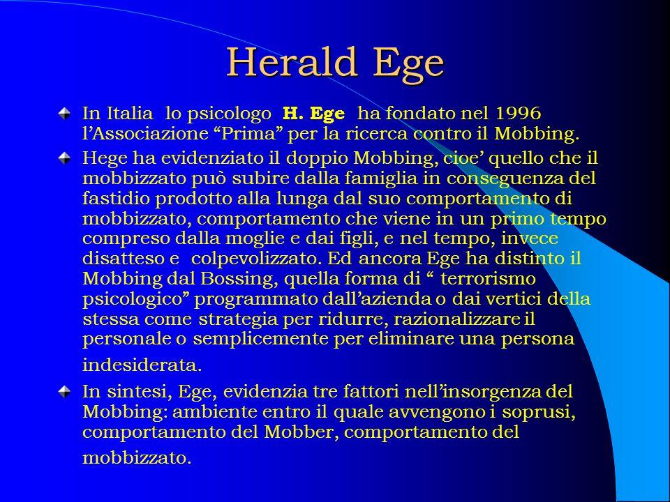 Herald Ege In Italia lo psicologo H. Ege ha fondato nel 1996 l'Associazione Prima per la ricerca contro il Mobbing.