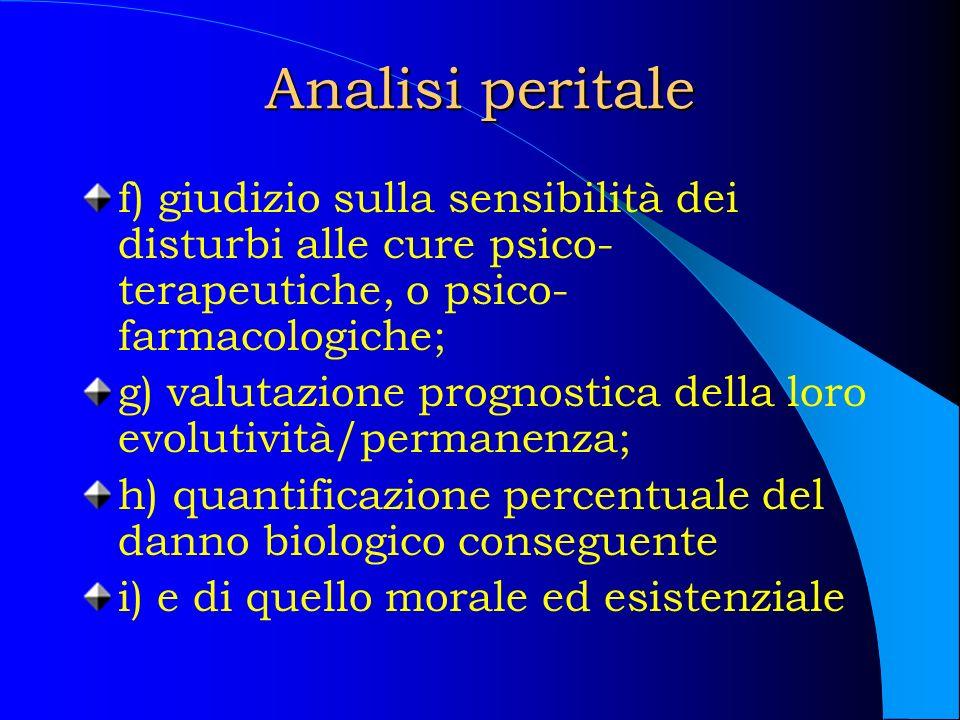Analisi peritale f) giudizio sulla sensibilità dei disturbi alle cure psico-terapeutiche, o psico-farmacologiche;