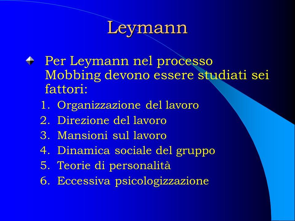 Leymann Per Leymann nel processo Mobbing devono essere studiati sei fattori: Organizzazione del lavoro.