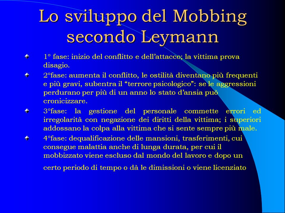 Lo sviluppo del Mobbing secondo Leymann