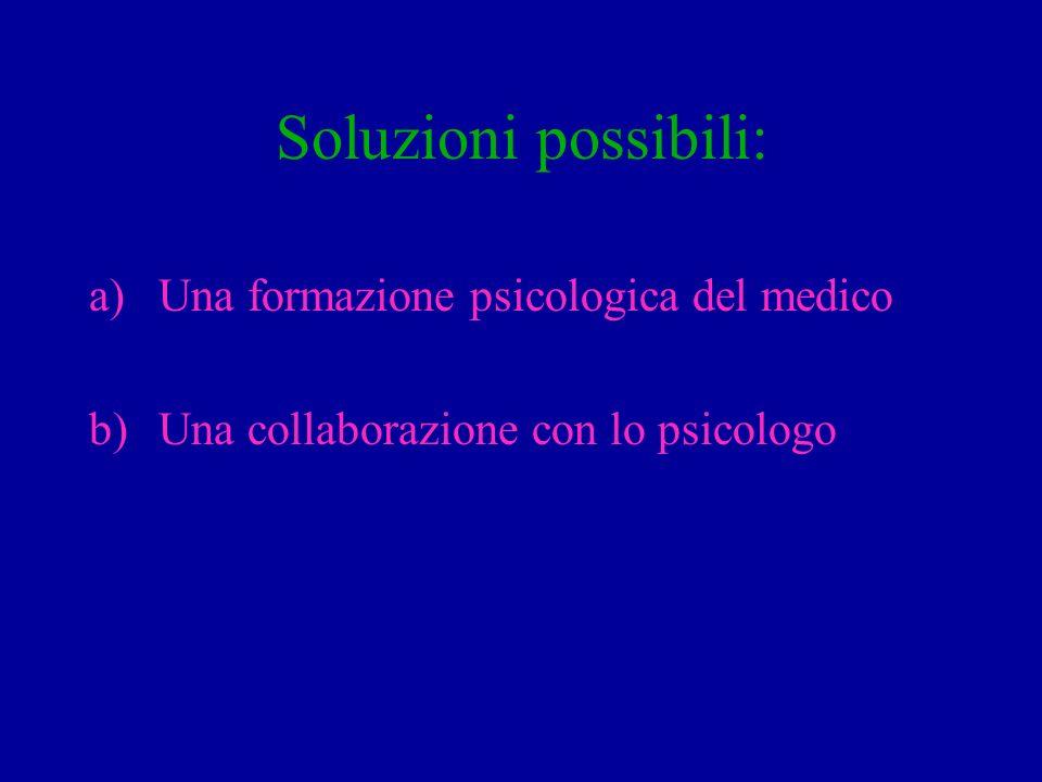 Soluzioni possibili: Una formazione psicologica del medico