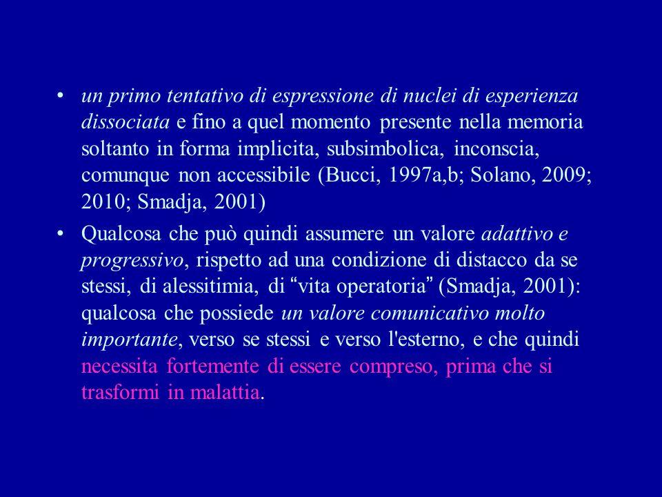 un primo tentativo di espressione di nuclei di esperienza dissociata e fino a quel momento presente nella memoria soltanto in forma implicita, subsimbolica, inconscia, comunque non accessibile (Bucci, 1997a,b; Solano, 2009; 2010; Smadja, 2001)