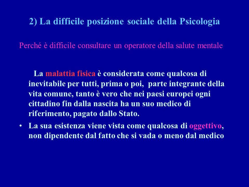 2) La difficile posizione sociale della Psicologia