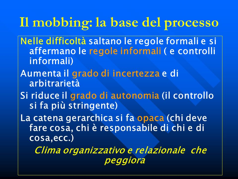 Il mobbing: la base del processo