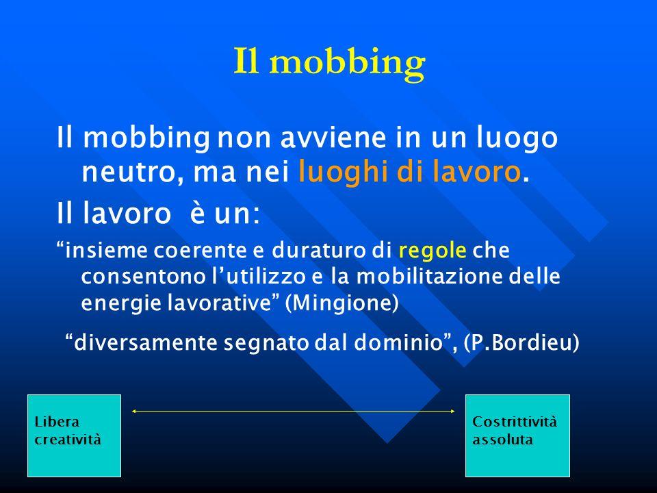 Il mobbing Il mobbing non avviene in un luogo neutro, ma nei luoghi di lavoro. Il lavoro è un: