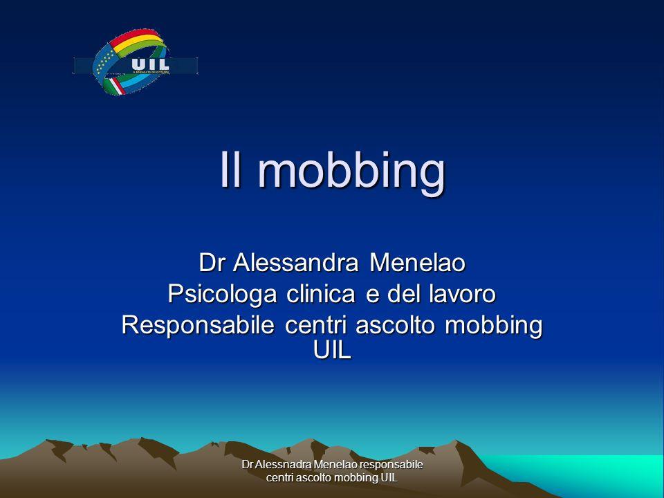 Il mobbing Dr Alessandra Menelao Psicologa clinica e del lavoro