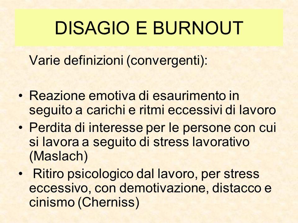 DISAGIO E BURNOUT Varie definizioni (convergenti):