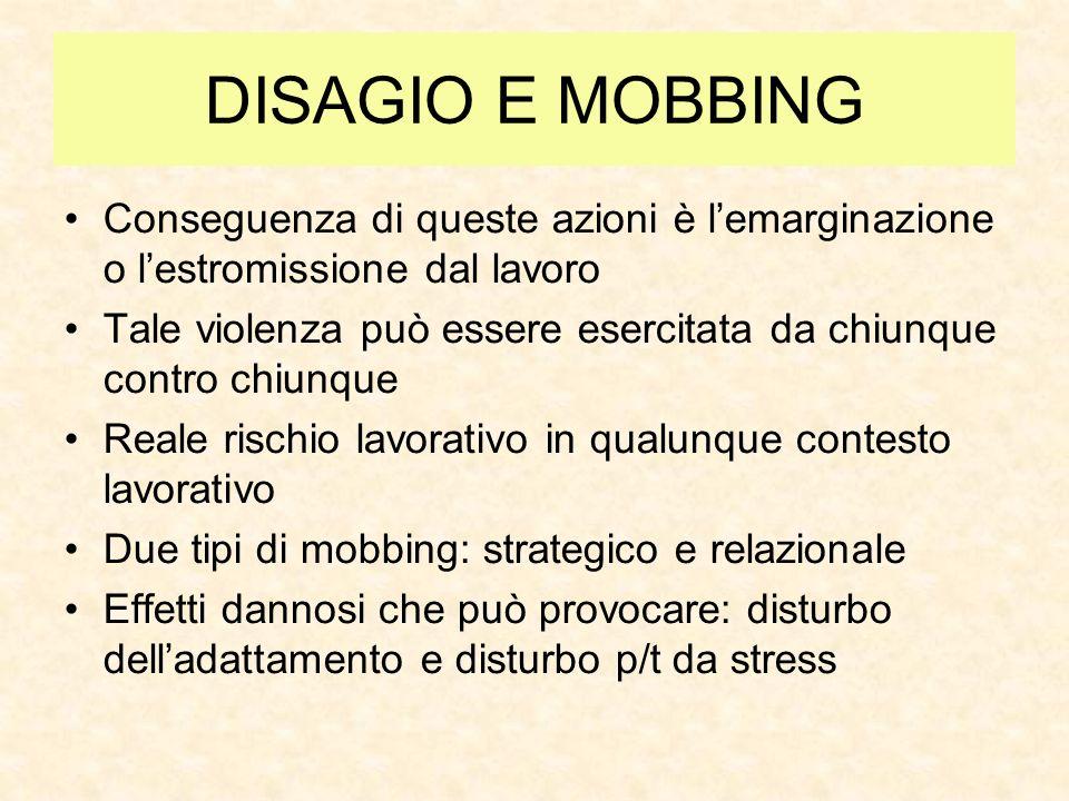 DISAGIO E MOBBING Conseguenza di queste azioni è l'emarginazione o l'estromissione dal lavoro.
