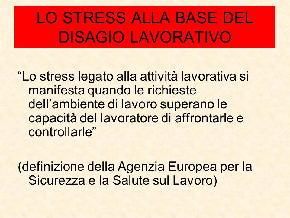 LO STRESS ALLA BASE DEL DISAGIO LAVORATIVO