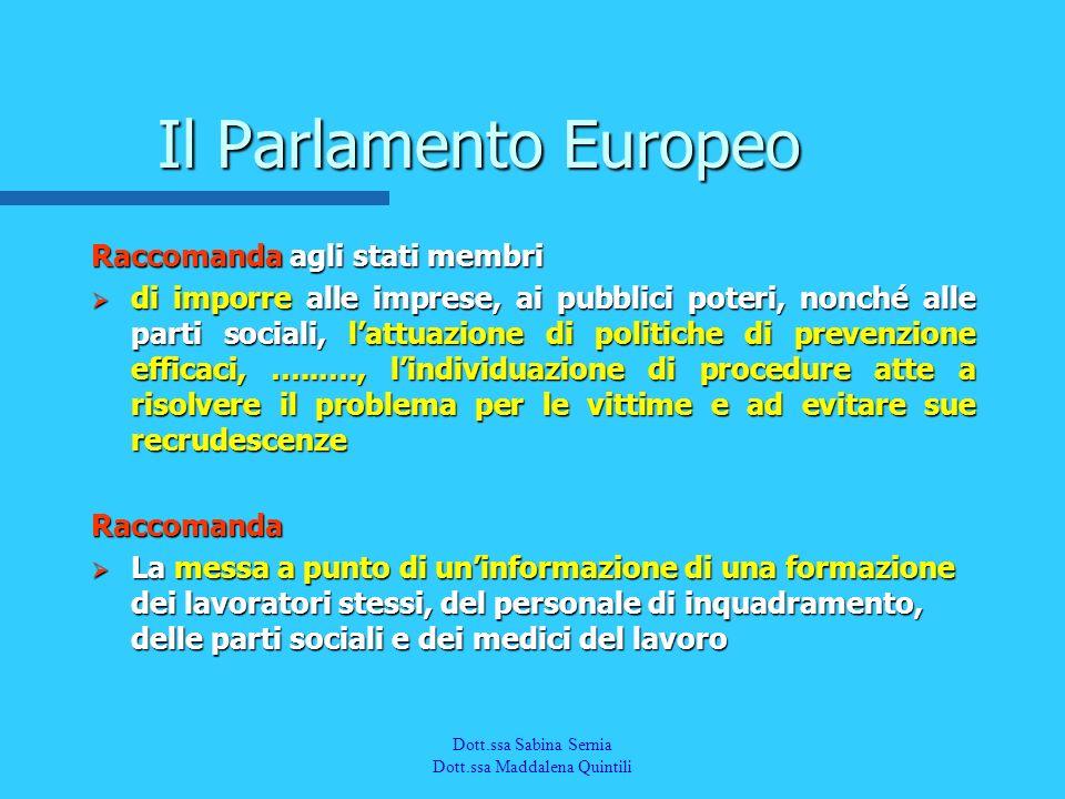 Il Parlamento Europeo Raccomanda agli stati membri