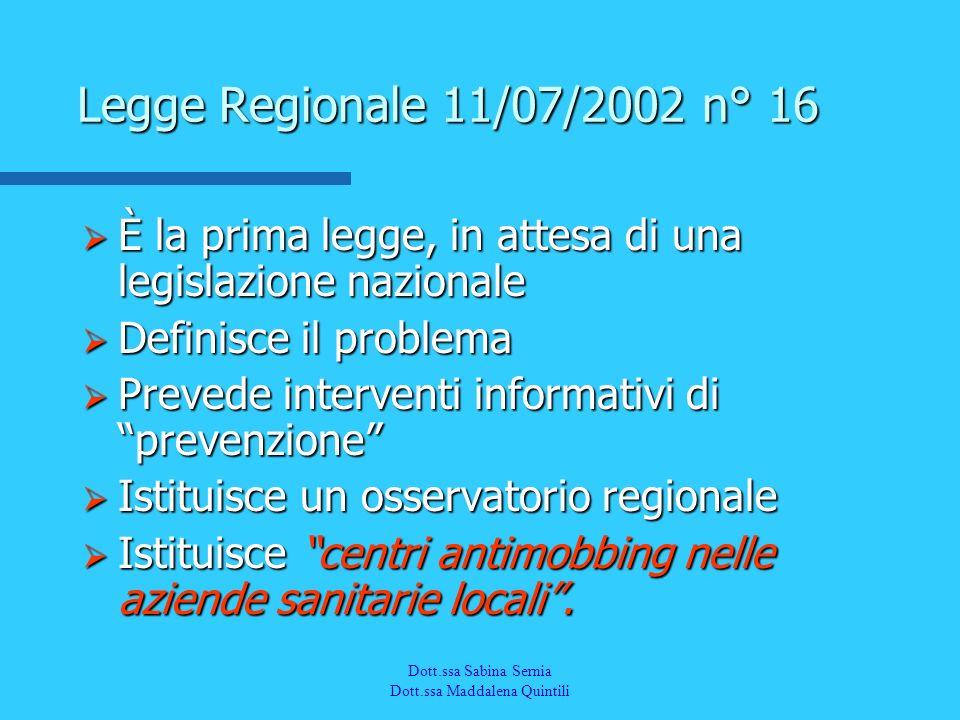 Legge Regionale 11/07/2002 n° 16 È la prima legge, in attesa di una legislazione nazionale. Definisce il problema.
