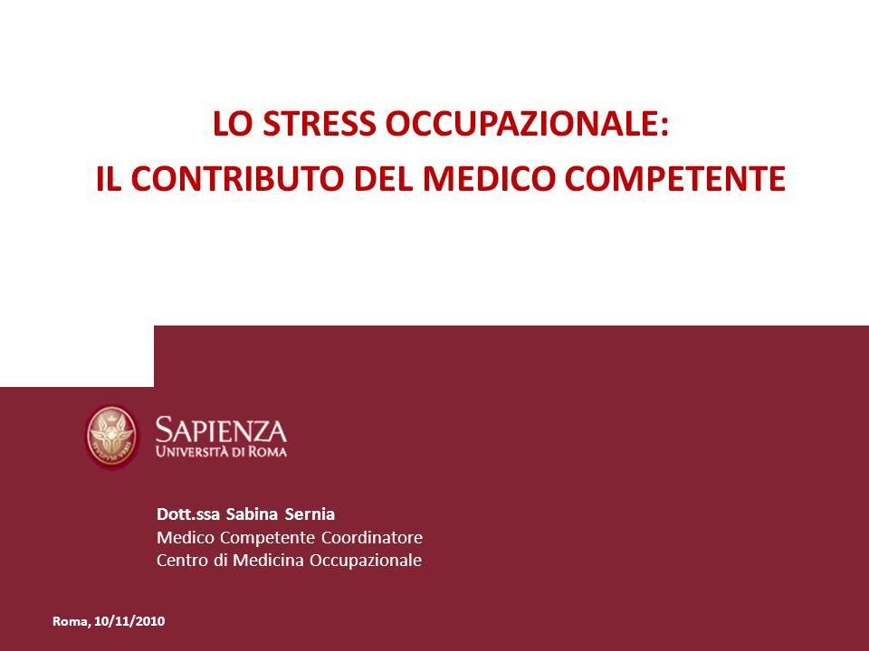 Lo stress occupazionale: il contributo del Medico Competente