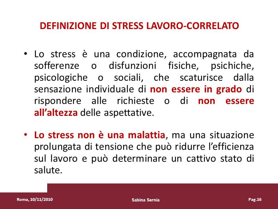 Definizione di stress lavoro-correlato