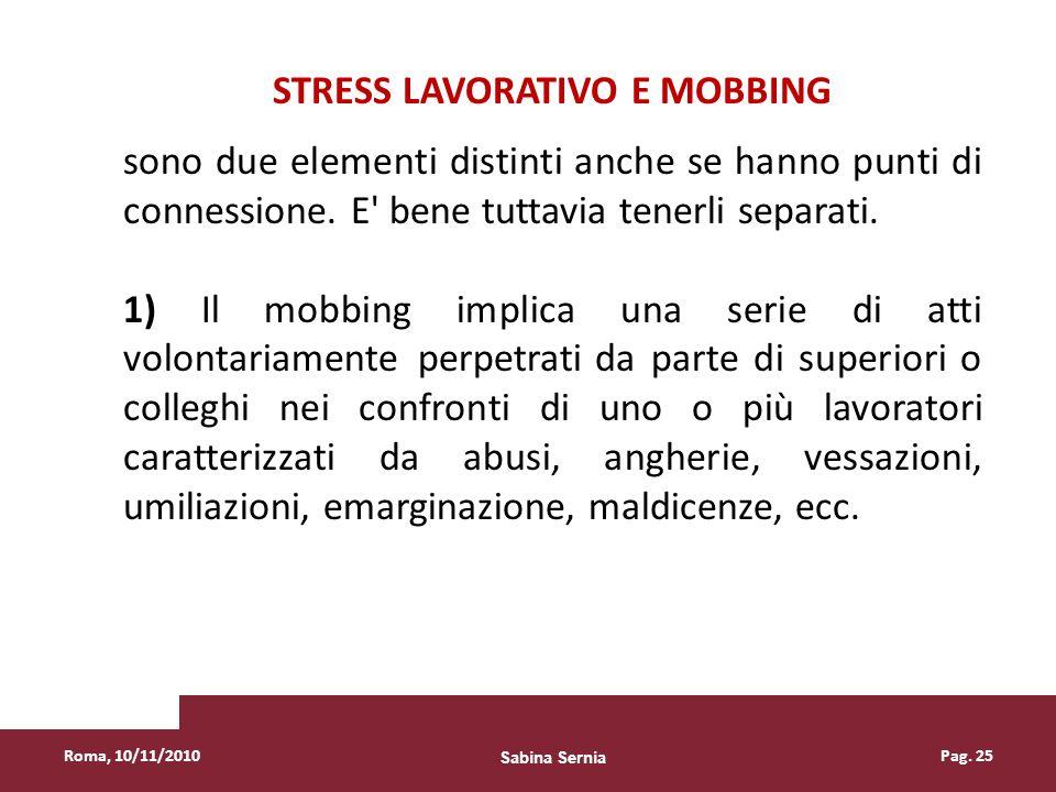 STRESS LAVORATIVO E MOBBING
