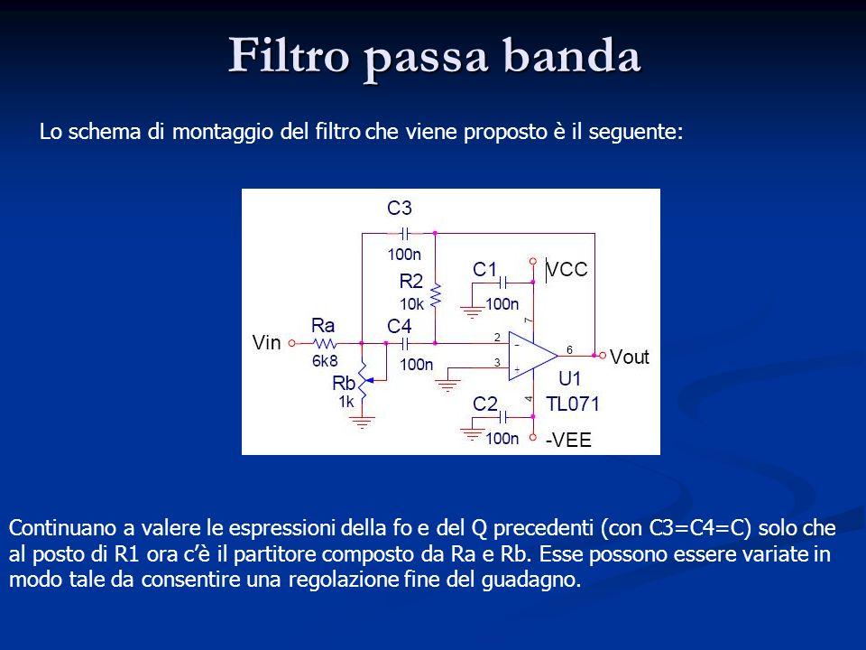 Filtro passa banda Lo schema di montaggio del filtro che viene proposto è il seguente: