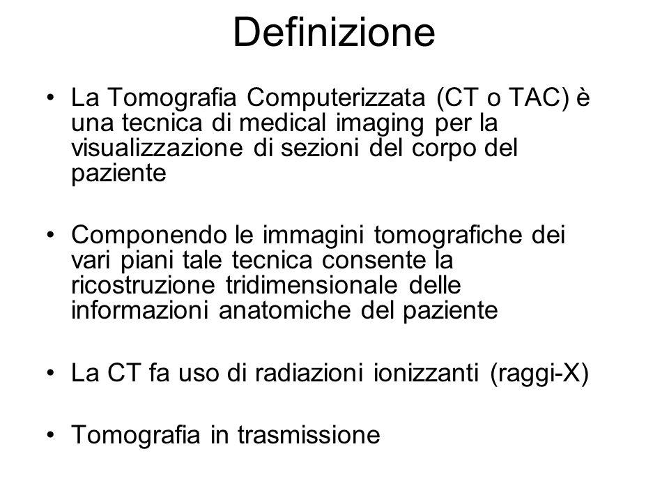 DefinizioneLa Tomografia Computerizzata (CT o TAC) è una tecnica di medical imaging per la visualizzazione di sezioni del corpo del paziente.