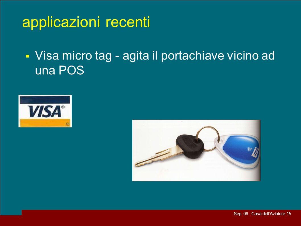 applicazioni recenti Visa micro tag - agita il portachiave vicino ad una POS