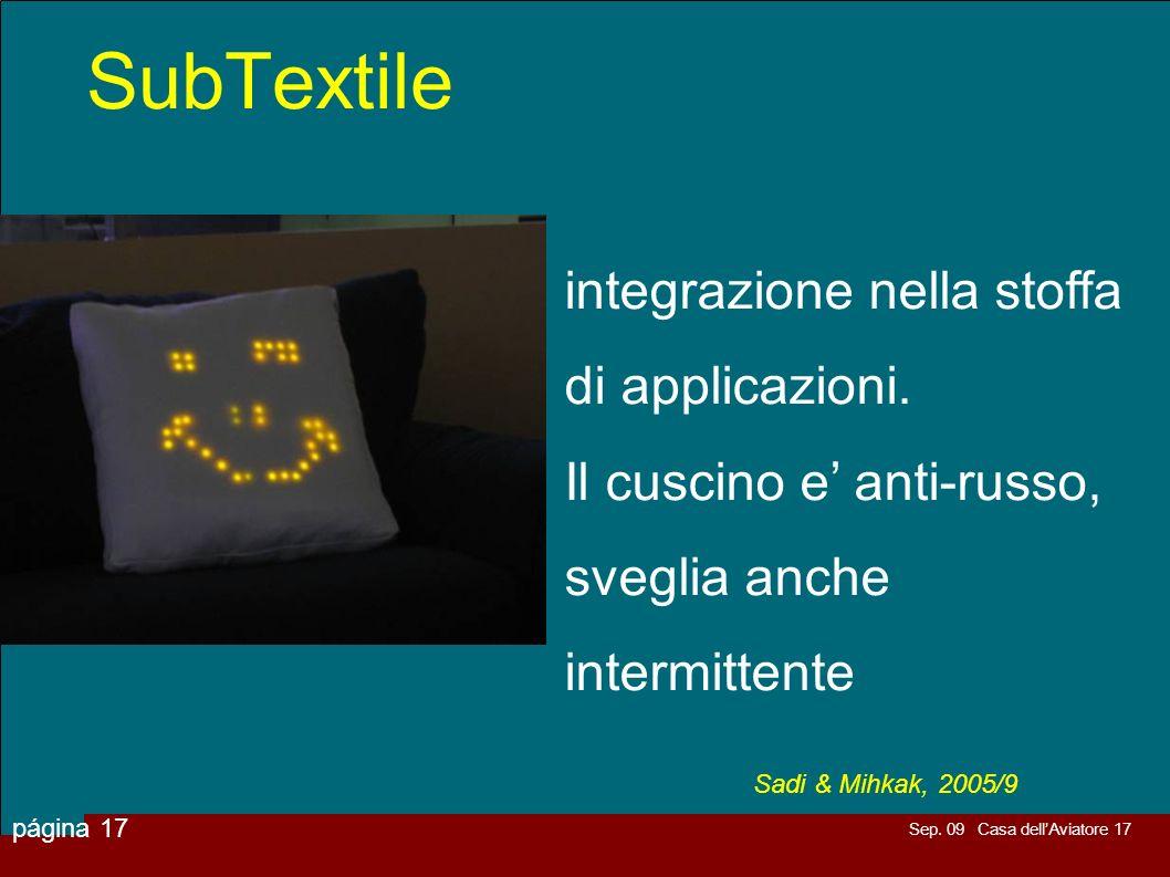 SubTextile integrazione nella stoffa di applicazioni.