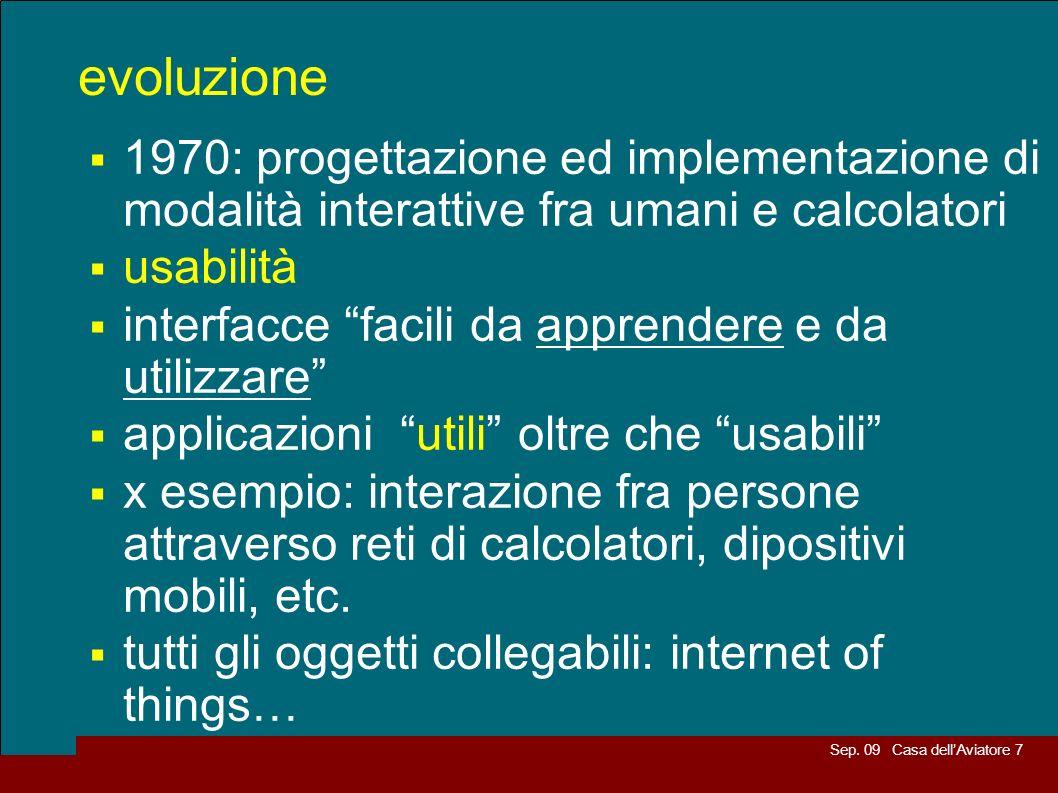 evoluzione 1970: progettazione ed implementazione di modalità interattive fra umani e calcolatori. usabilità.