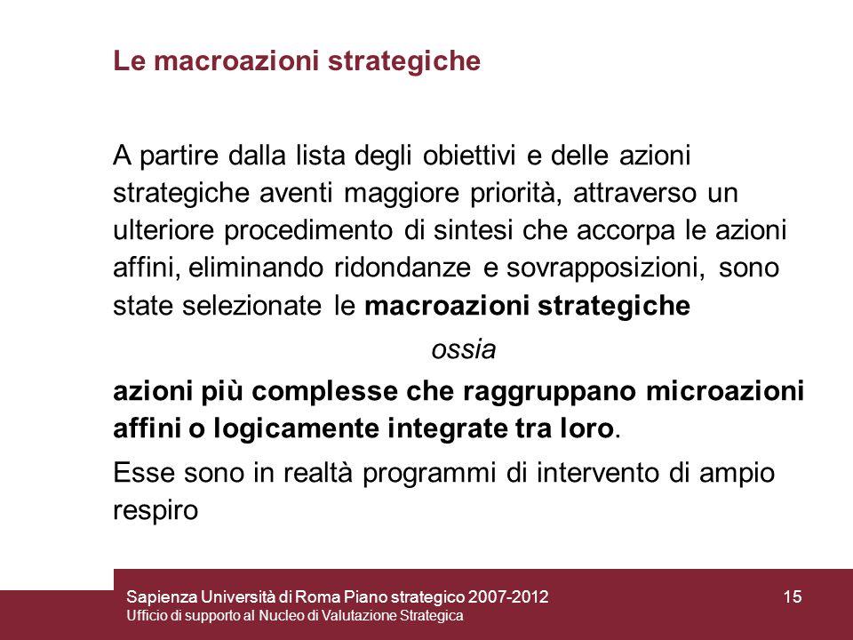 Le macroazioni strategiche