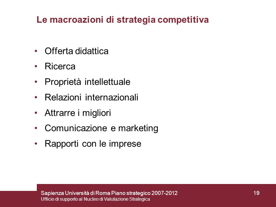 Le macroazioni di strategia competitiva