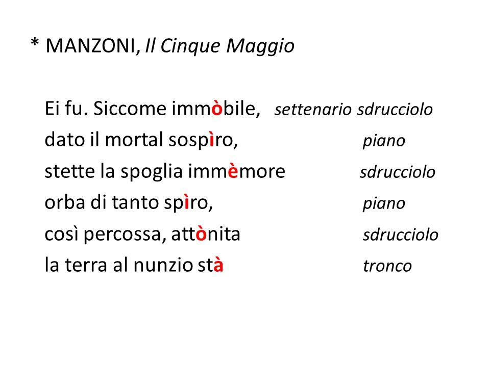 * MANZONI, Il Cinque Maggio