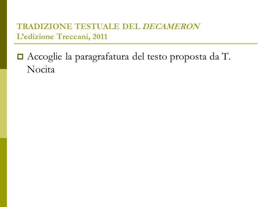 TRADIZIONE TESTUALE DEL DECAMERON L'edizione Treccani, 2011