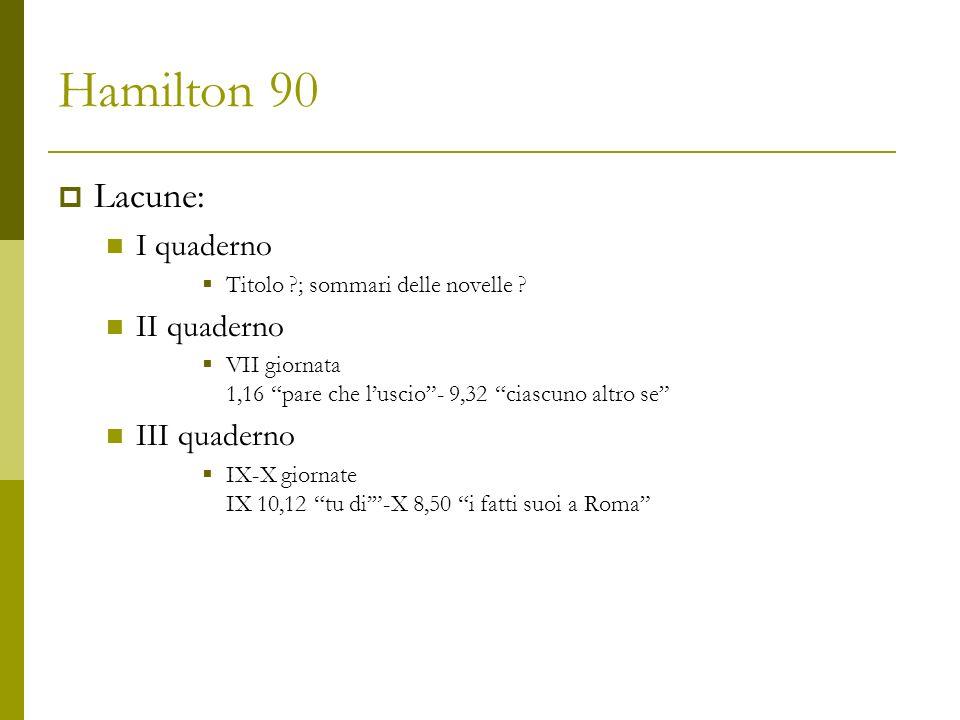 Hamilton 90 Lacune: I quaderno II quaderno III quaderno