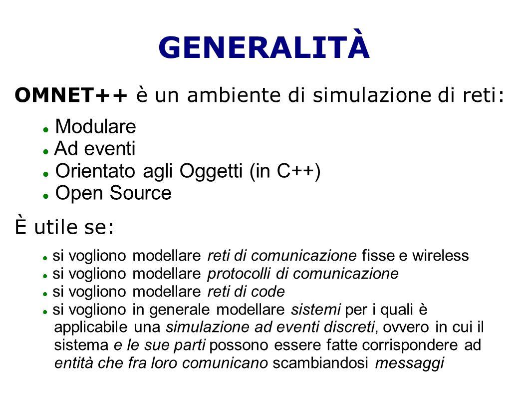 GENERALITÀ OMNET++ è un ambiente di simulazione di reti: Modulare