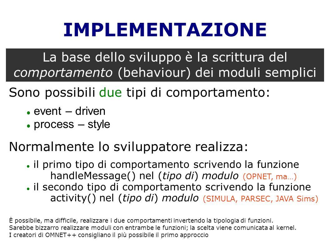 IMPLEMENTAZIONE La base dello sviluppo è la scrittura del comportamento (behaviour) dei moduli semplici.