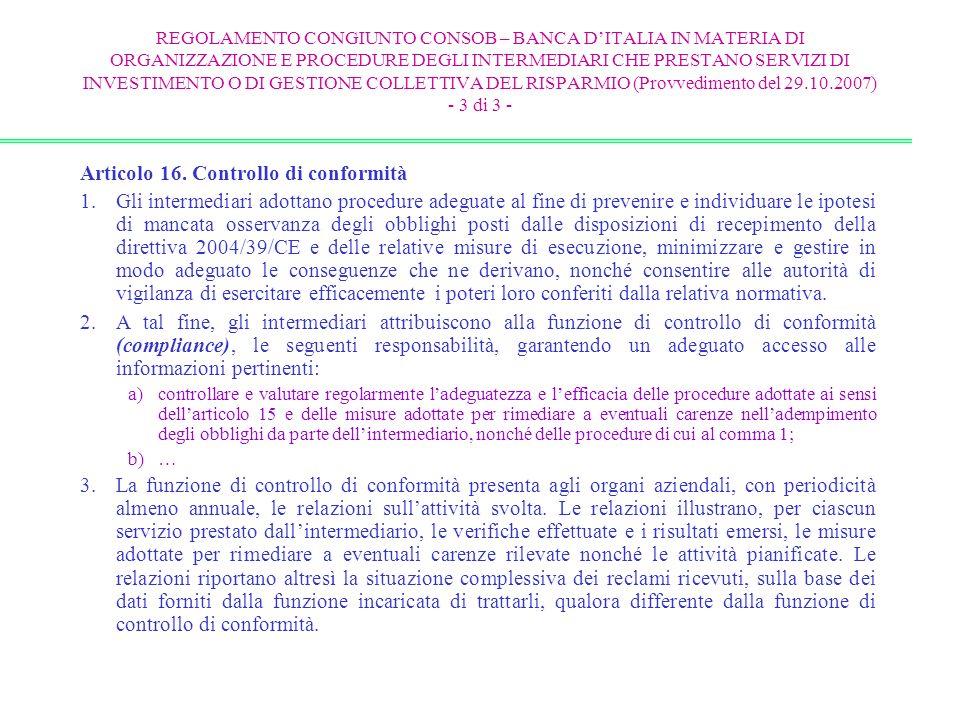 Articolo 16. Controllo di conformità