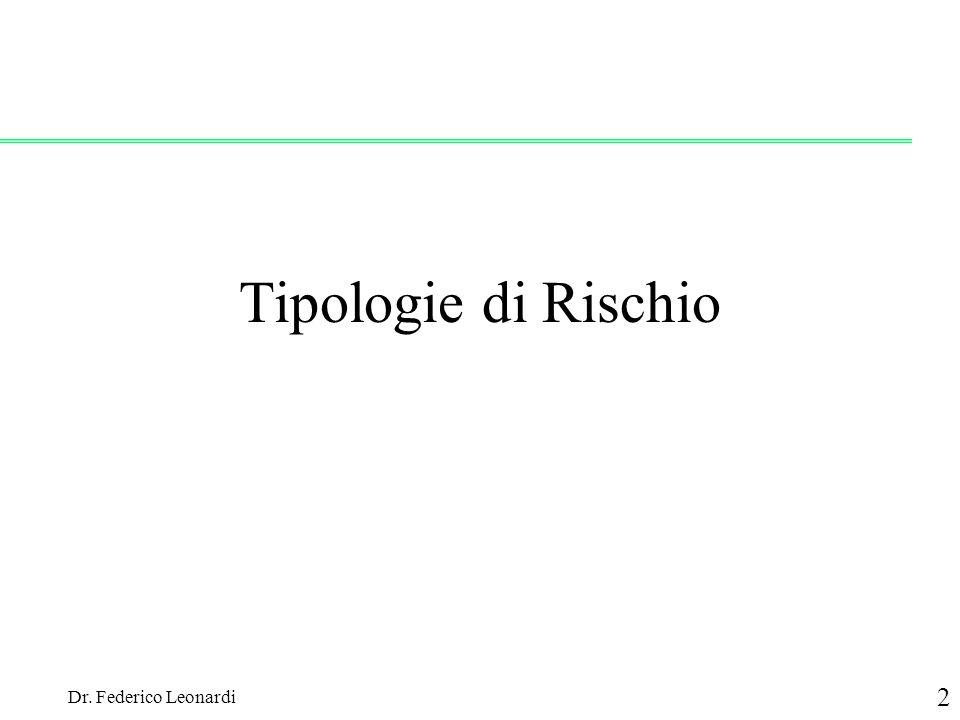 Tipologie di Rischio Dr. Federico Leonardi