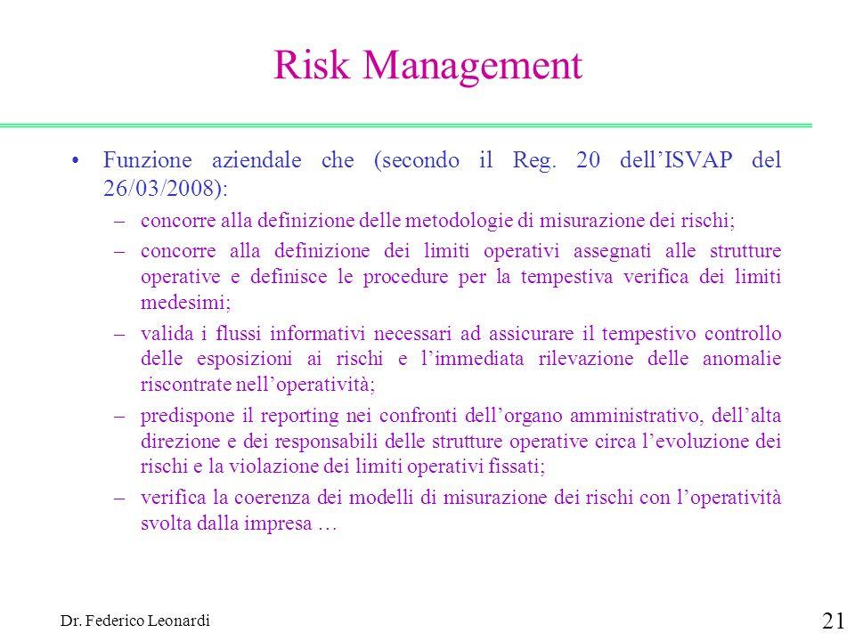 Risk Management Funzione aziendale che (secondo il Reg. 20 dell'ISVAP del 26/03/2008):